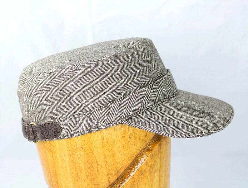 Wool Cadet Cap  Leather Strapback Baseball Hat in Brown Wool image 0