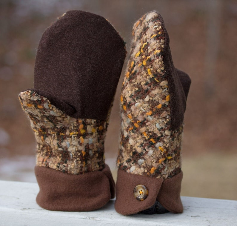 Toasty Mittens Sewn with Upcycled Plaid Wool in Browns and image 0