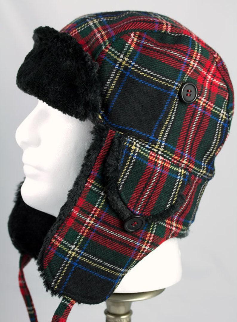 80a8fbdf5d2e6 Mens Trapper Hat Red Tartan Plaid Wool Warm Winter Cycling