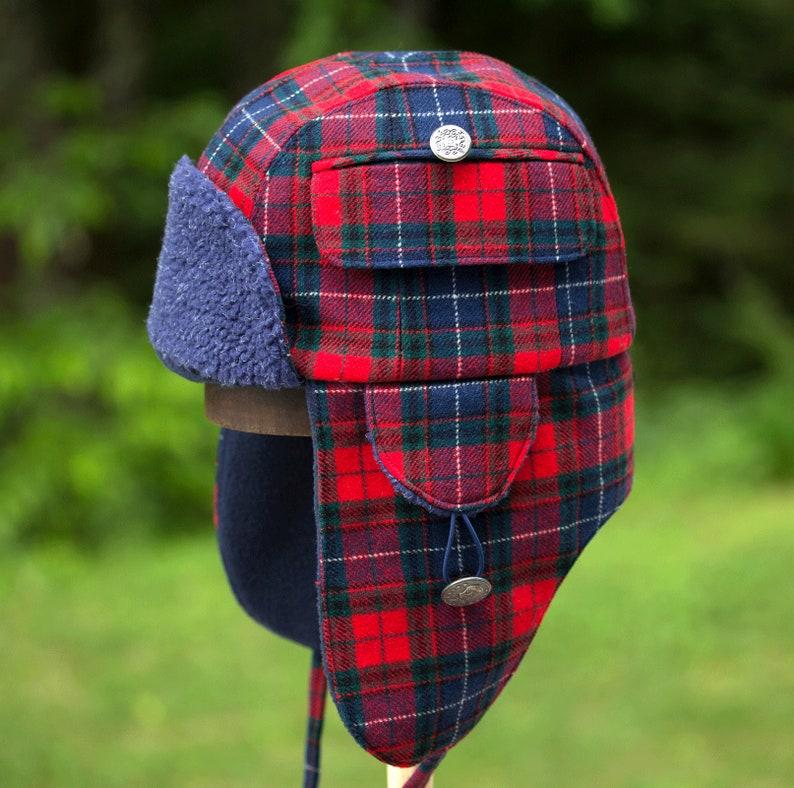 08e3b57434e927 Red Plaid Lumberjack Hat Winter Hunter Trapper Aviator Hat   Etsy