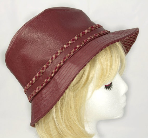 Leather Fedora Brimmed Leather Hat Maroon Dark Red Custom  b3e1fe600ce1