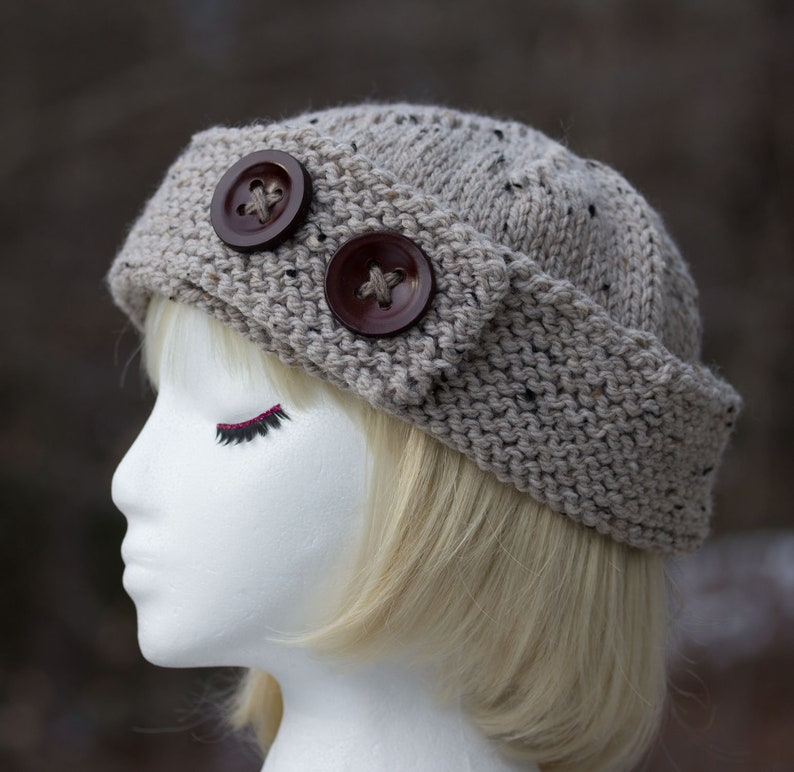 Womens Winter Knit Beanie  Beige Tweed Wool Blend Cuffed image 0