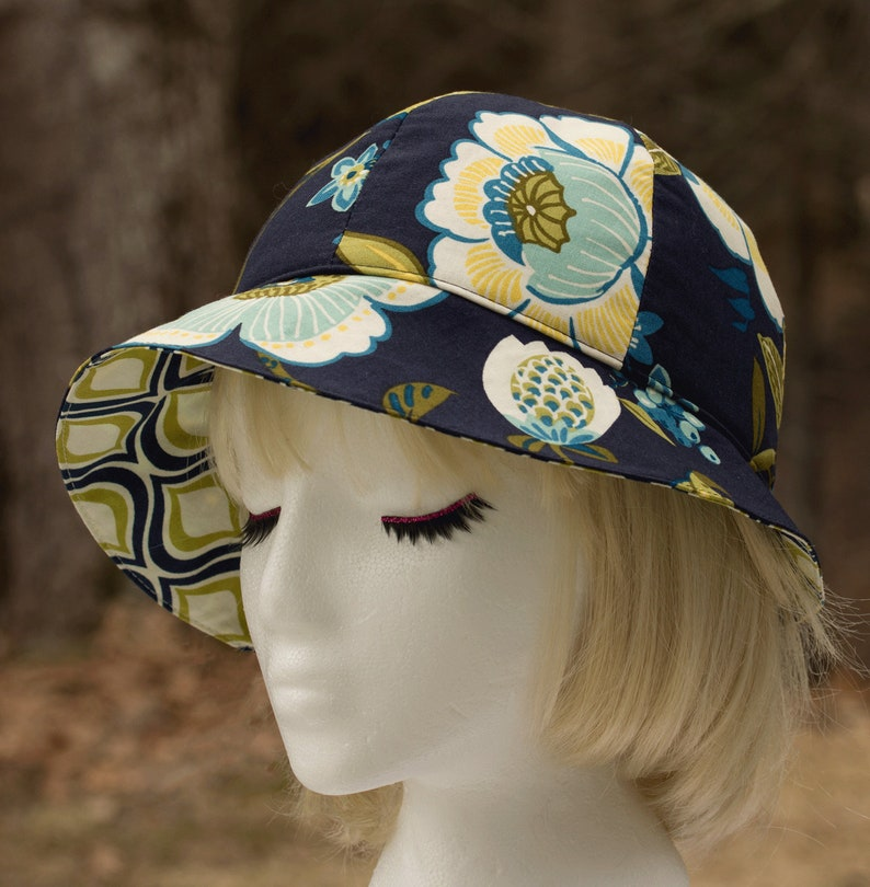 Womens Summer Hat Navy Blue Floral Cloche  Cute Cotton image 0