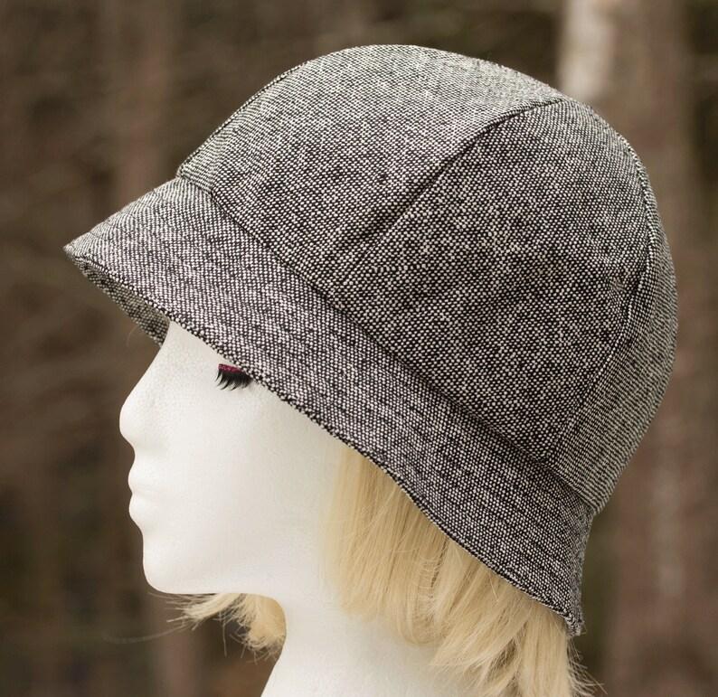 Women's Tweed Hat in Black White Wool Silk  6 Panel Gray image 0
