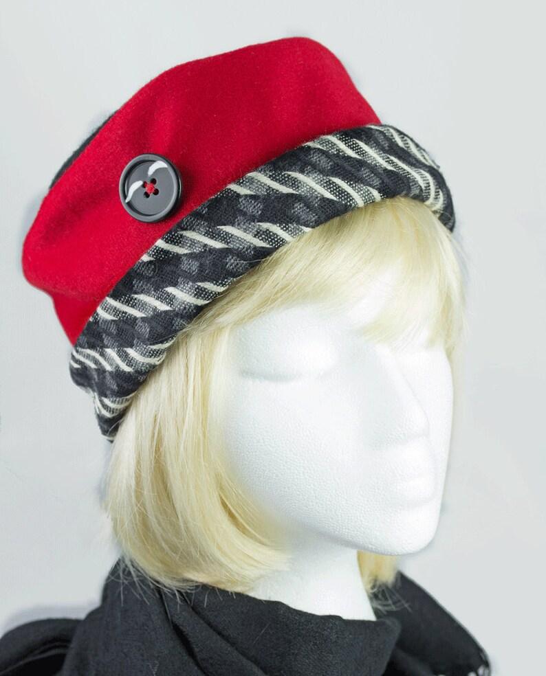 20d4cc0a250 Women Winter Hat Red Wool Pillbox Cloche Warm Red Wool Hat