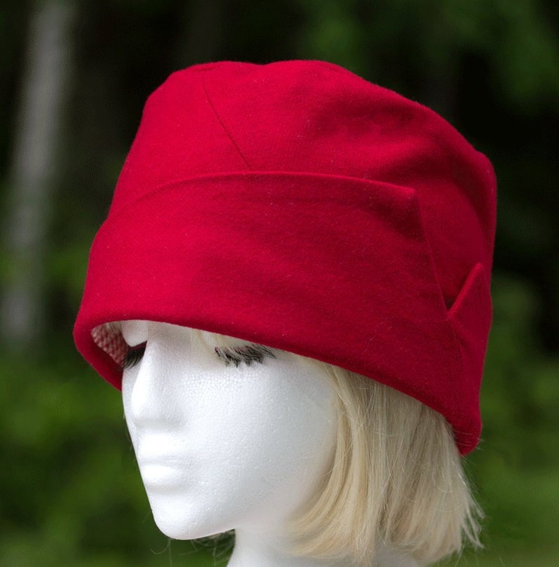 Lined 20s Gatsby Style Flapper Small Red Church Hat Red Pillbox Hat Upcycled Hat with Lapel Accent Tall Crown Red Wool Cloche