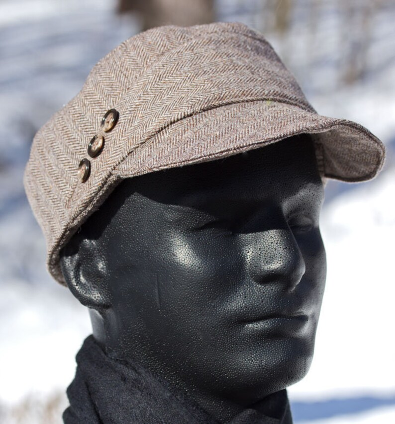 4926267a911 Brown Wool Baseball Cadet Cap in Herringbone Wool Winter