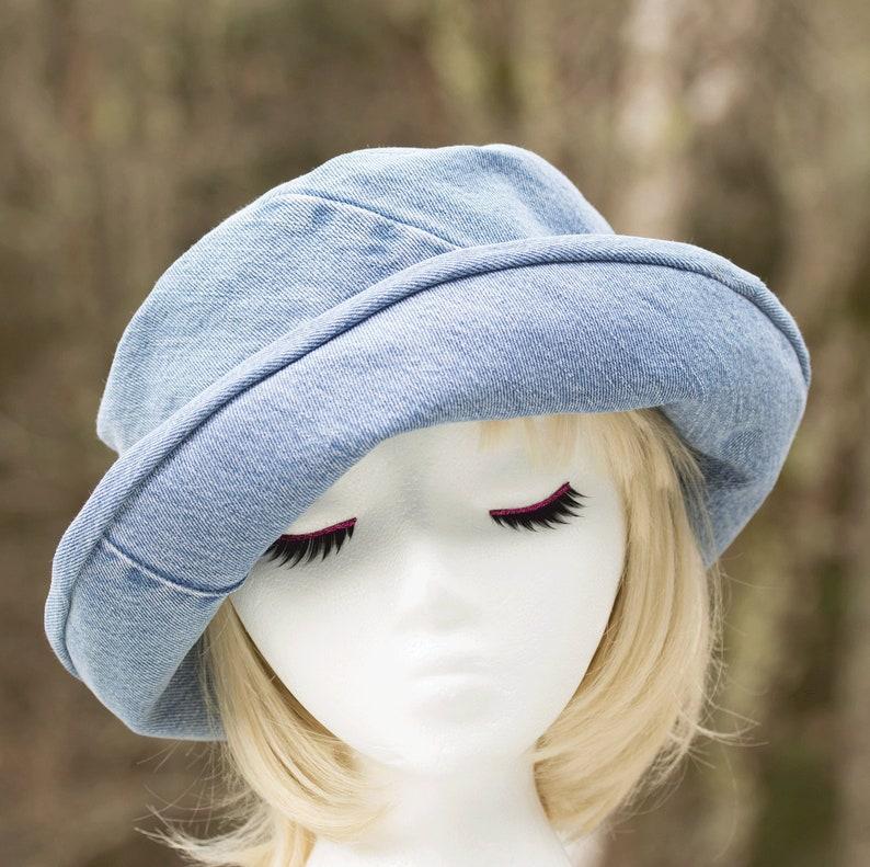 Denim  Rolled Curled Brim Cloche  Light Blue Summer Hat  image 0