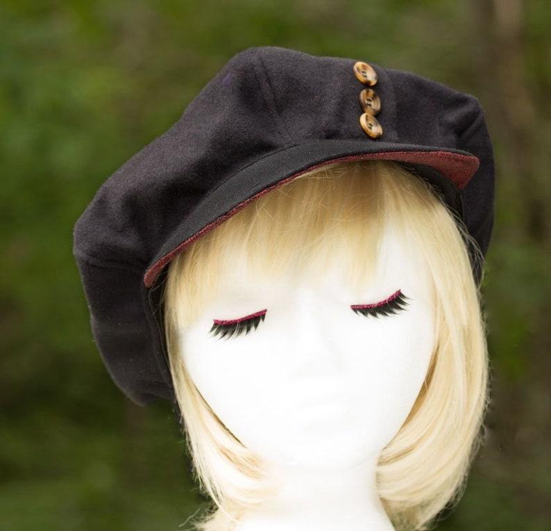 Womens Newsboy Cap  Black Wool Visor Hat  Black Slouchy Flat image 0