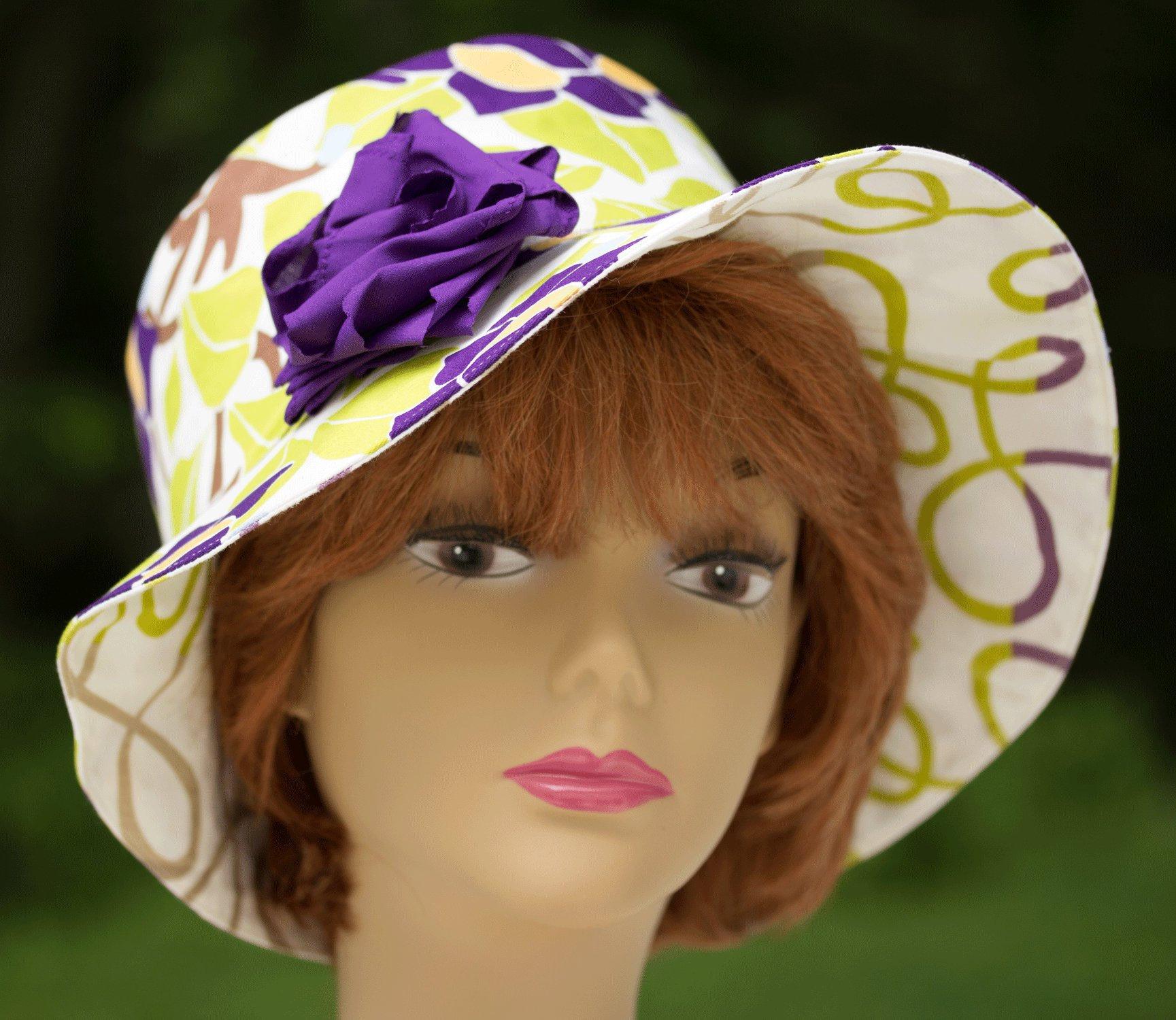 2cdadfa2 Women's Cotton Sun Hat has Purple Accents Reversible   Etsy