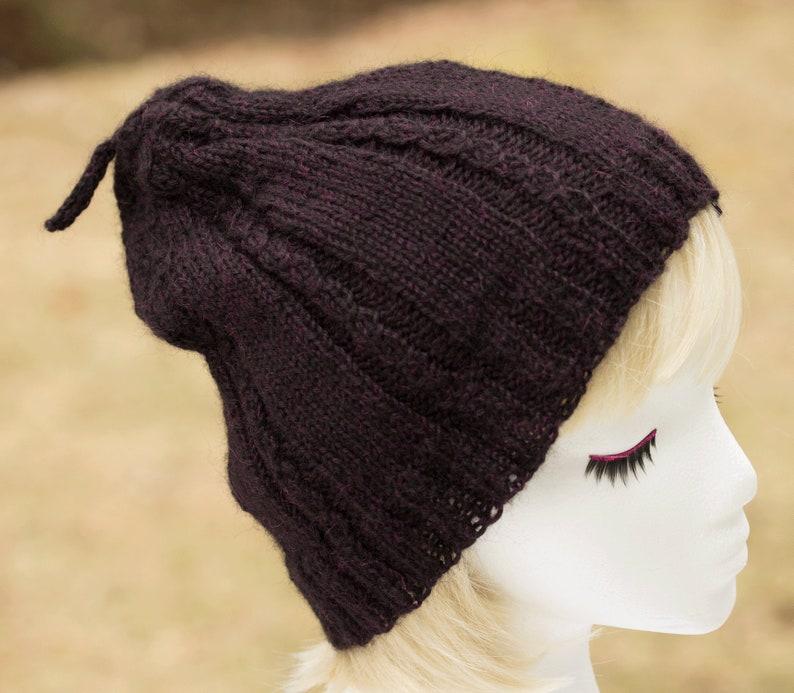 Knitted Beanie Purple Slouchy Hat  Dark Plum Baby Alpaca image 0