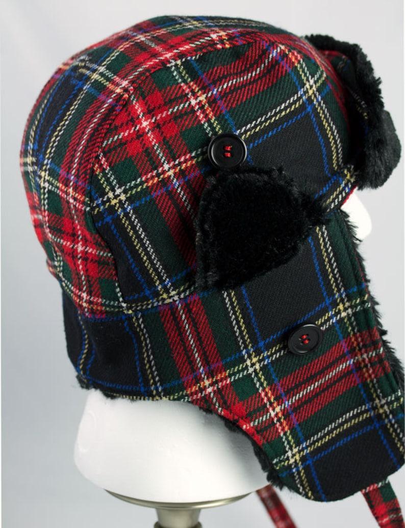 d209eb527ffa88 Mens Trapper Hat Red Tartan Plaid Wool Warm Winter Cycling   Etsy