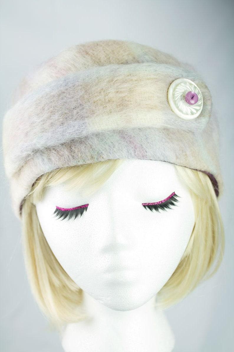 Pink Wool Winter Hat  Warm Soft Sweater Knit Pillbox  Pink image 0