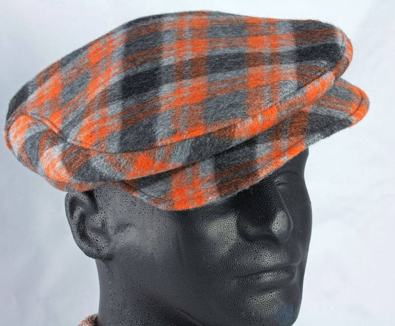 ccc1560b807b9 Mens Flat Cap in Orange Gray Black Plaid Wool Driving Touring Cap