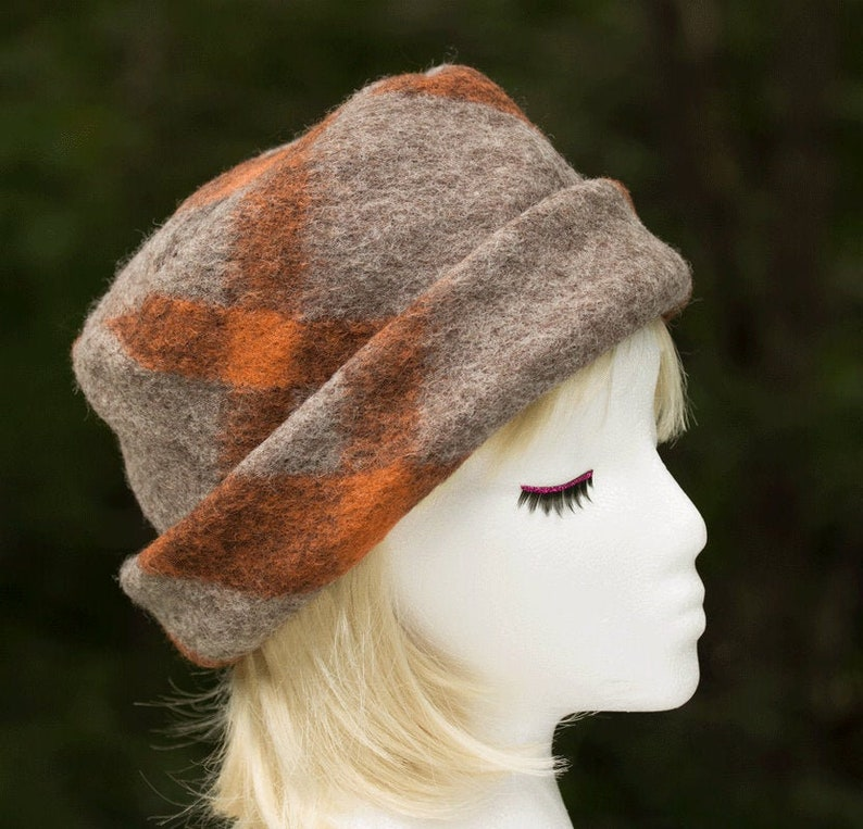 Orange and Gray Wool Plaid Pillbox Hat  Cloche Hat with image 0