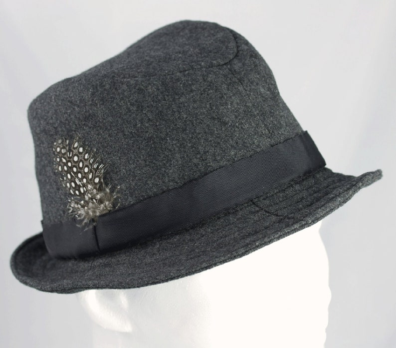 Gray Wool Fedora Hat  Light or Dark Gray Wool Hat 50s 60s image 0
