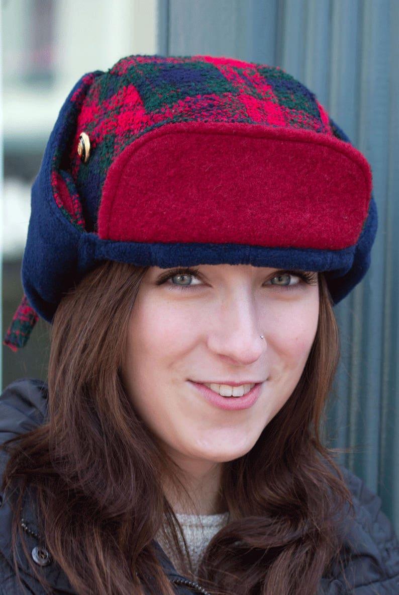 caee08ae651 Red Lumberjack Hat Buffalo Plaid Hat Wool Ear Flap Hat