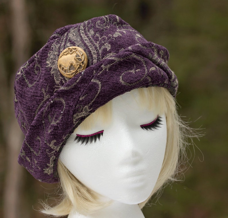 Purple Pillbox Beanie  Cuffed Brim Womens Winter Hat  Purple image 0
