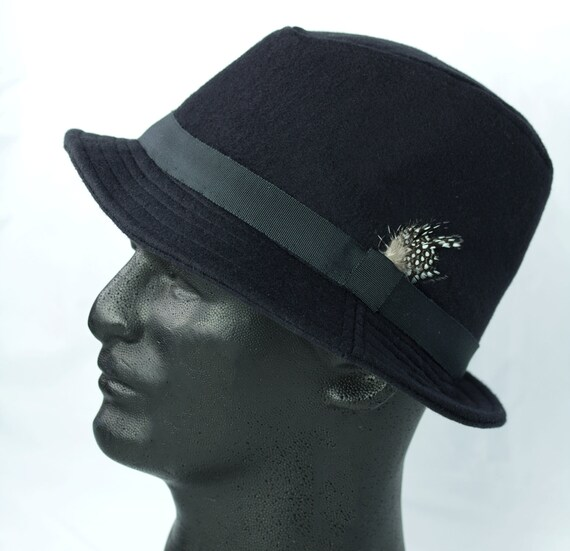 Mens Black Fedora Black Wool Winter Hat Mad Men 50s 60s  c5bdde9e1cd