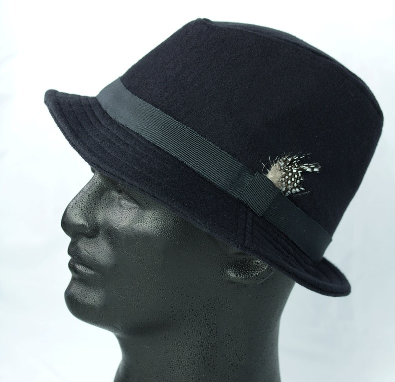 756c32993daae Mens Black Fedora Black Wool Winter Hat Mad Men 50s 60s