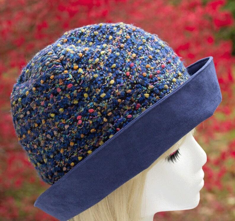 cadb7b87018 Blue Cloche Hat Dark Blue Confetti Boucle and Wide Faux