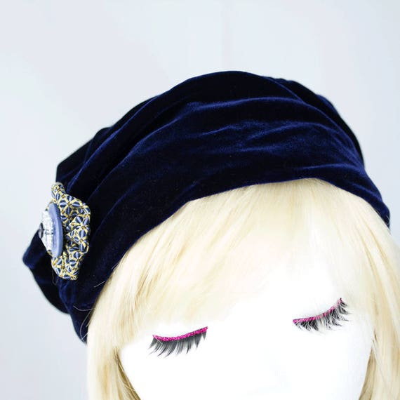 50bbb468d9d Midnight Blue Velvet Hat Pillbox Cloche Casual Elegant