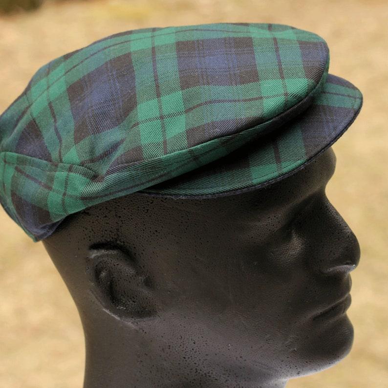 20de2417d5b57 Black Watch Flat Cap Oldtimer-Fahrer Cap Black Green