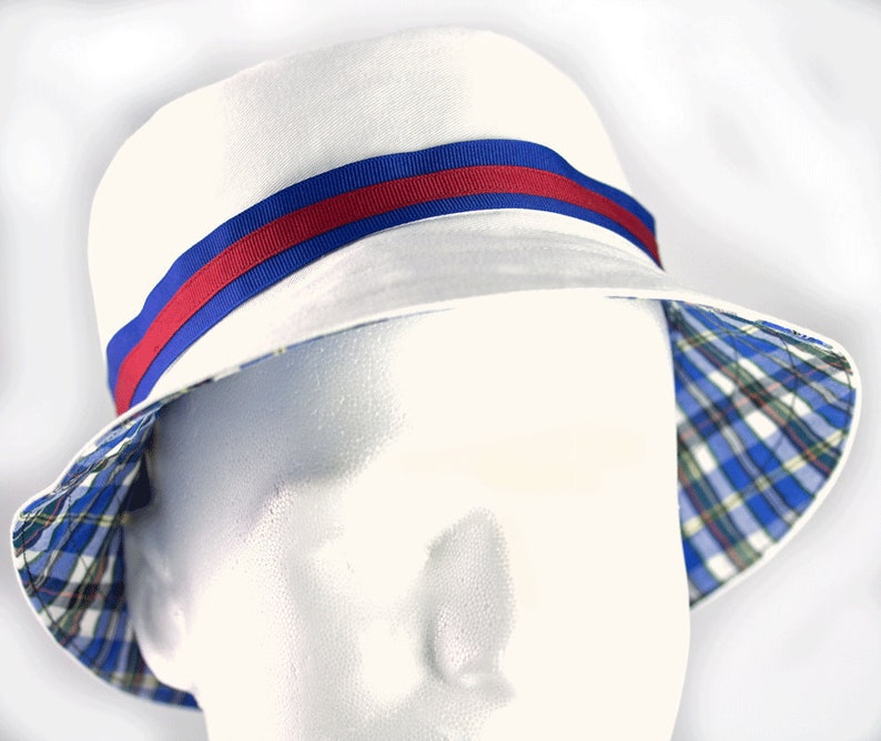 Mens Bucket Hat White Cotton Reversible Plaid Custom  31ff139a47b