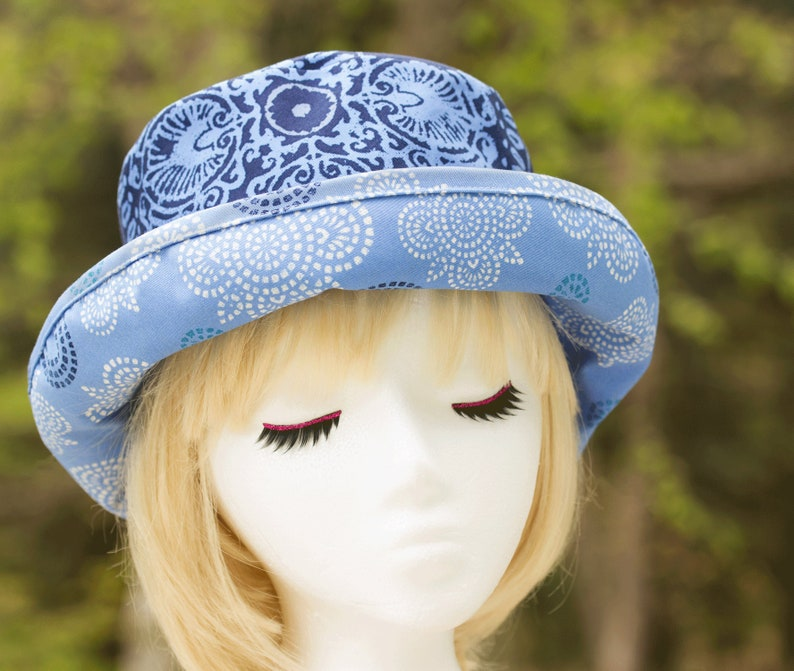 Women's Summer Hat with Curled Brim  Blue Upturned Rolled image 0