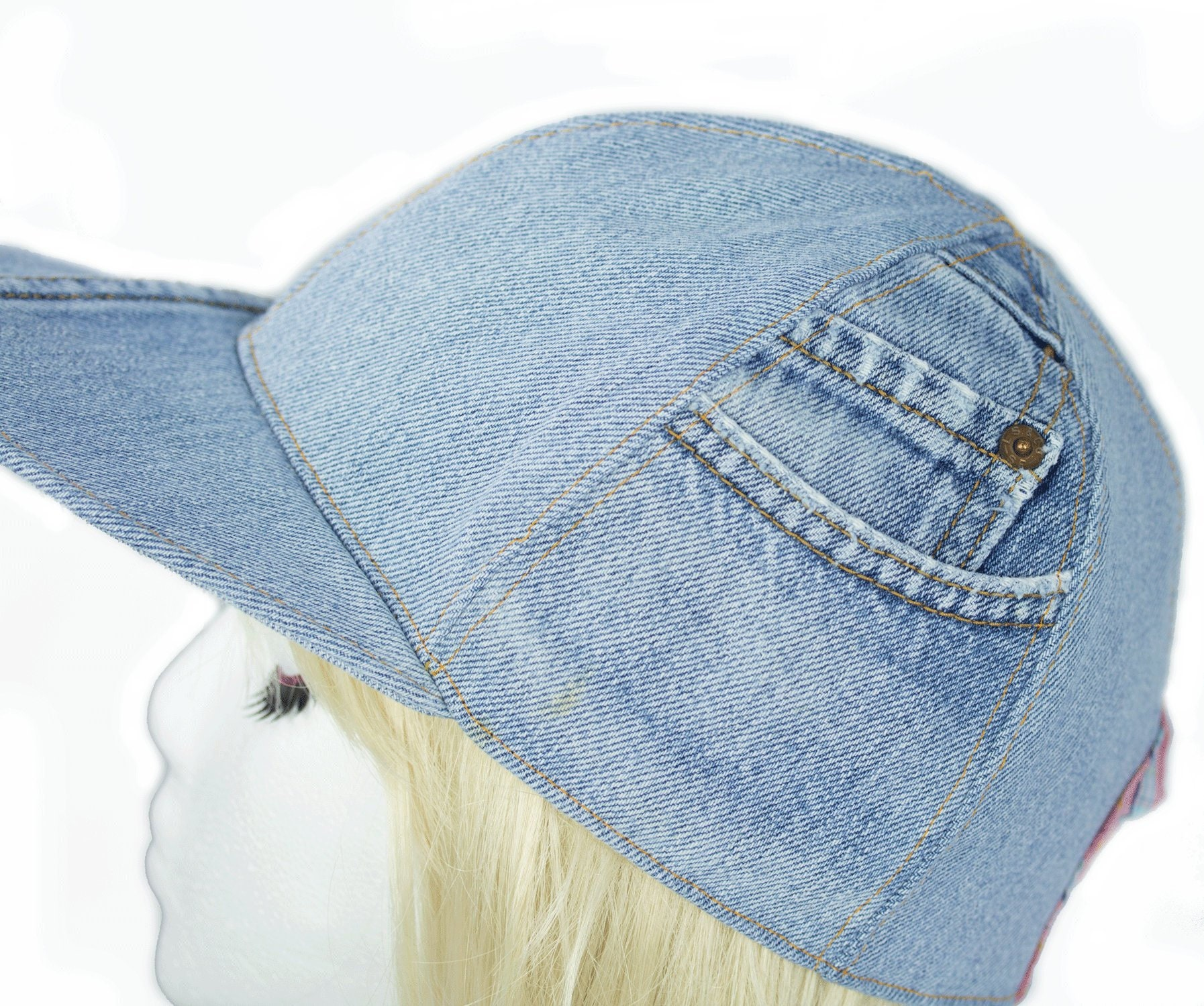 Womens Baseball Cap in Washed Denim Light Blue Denim  5edc9ff6033c
