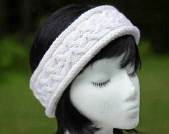 White Cashmere Wool Cable Knit Headband | Off-White Knit Earwarmer | Cashmere/Merino Wool Hand Knit Creamy White Winter Headband