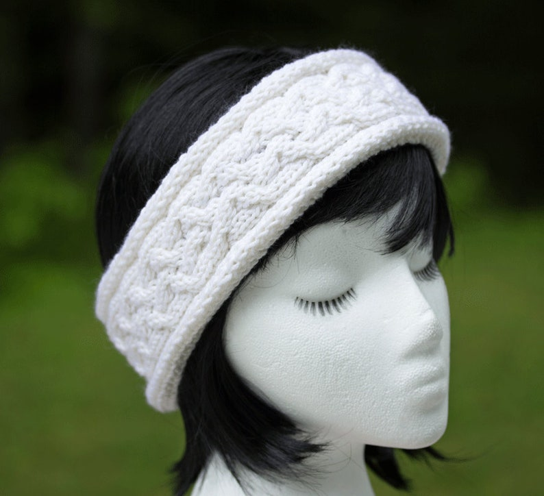 75129df2a45 White Knit Headband Cashmere Wool Cable Knit Off-White Knit