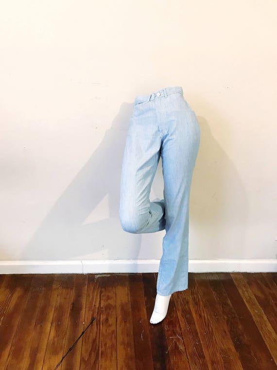 80's baby blue high waist pants by Gloria Vanderbi