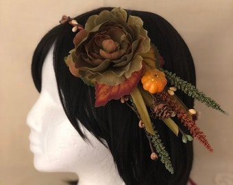 Fall Headband RTS Pumpkin Hydrangea Wool Felt Flower Headband