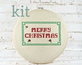 Christmas banner kit etsy complete kit merry christmas banner holiday greetings do it yourself craft kit embroidery kit diy holiday decor december word art solutioingenieria Images