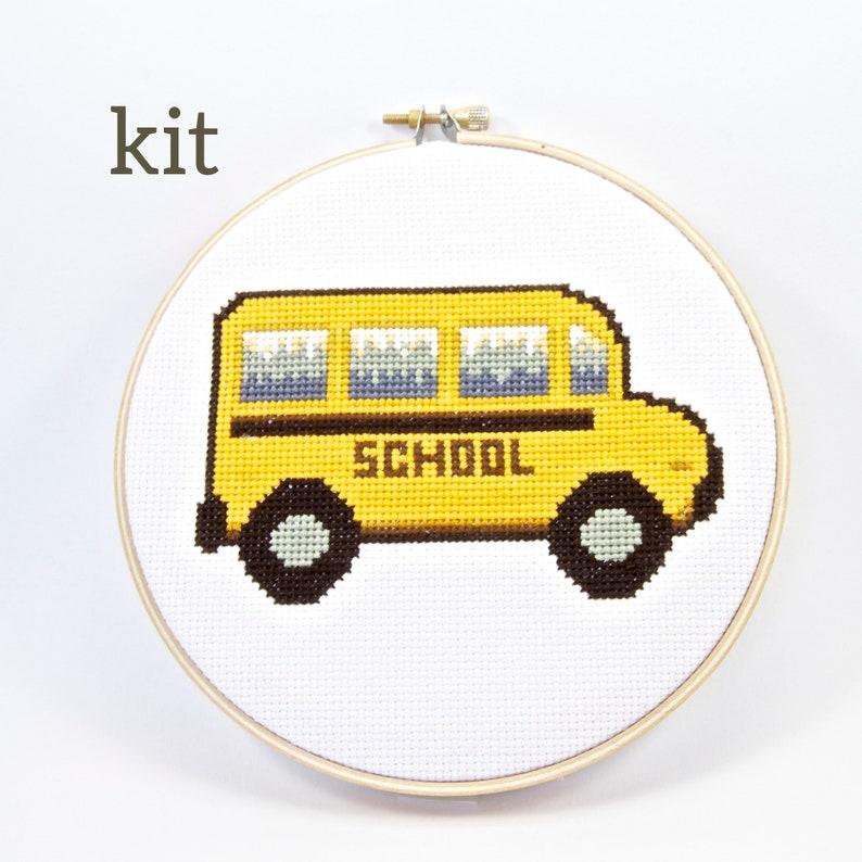 School Bus Cross Stitch Kit Back to School Teacher Decor image 0