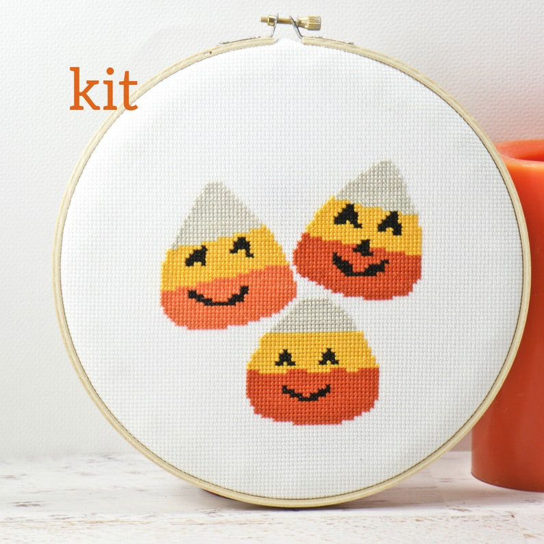 Sweet Treats Candy Corn Counted Cross Stitch Kit Halloween image 0