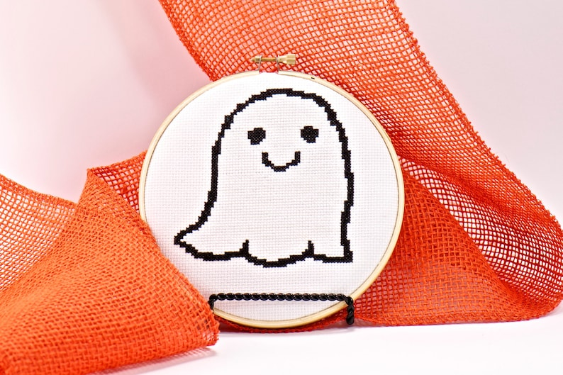 White Ghost Counted Cross Stitch Pattern Halloween DIY image 0