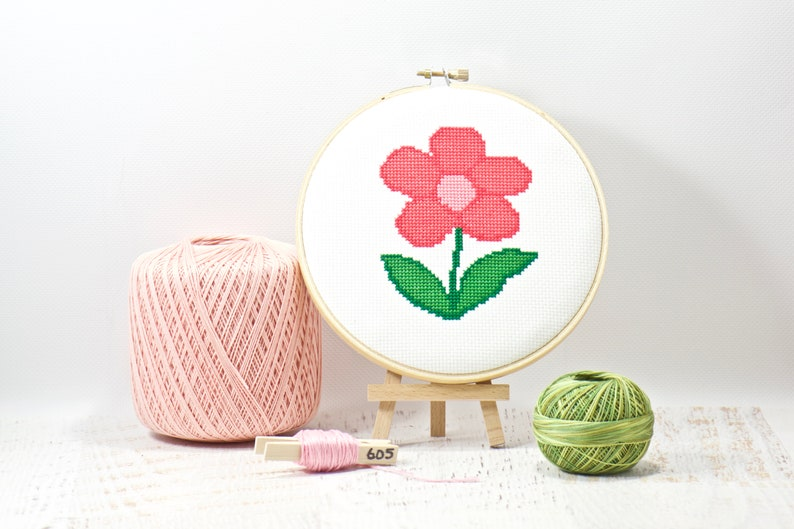 Blooming Flower Cross Stitch Pattern Simple Hand Embroidery image 0