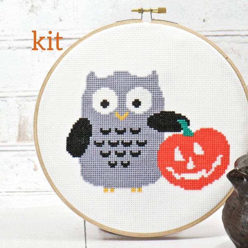 Gray Black Halloween Cute Owl Cross Stitch Kit Orange Pumpkin image 0