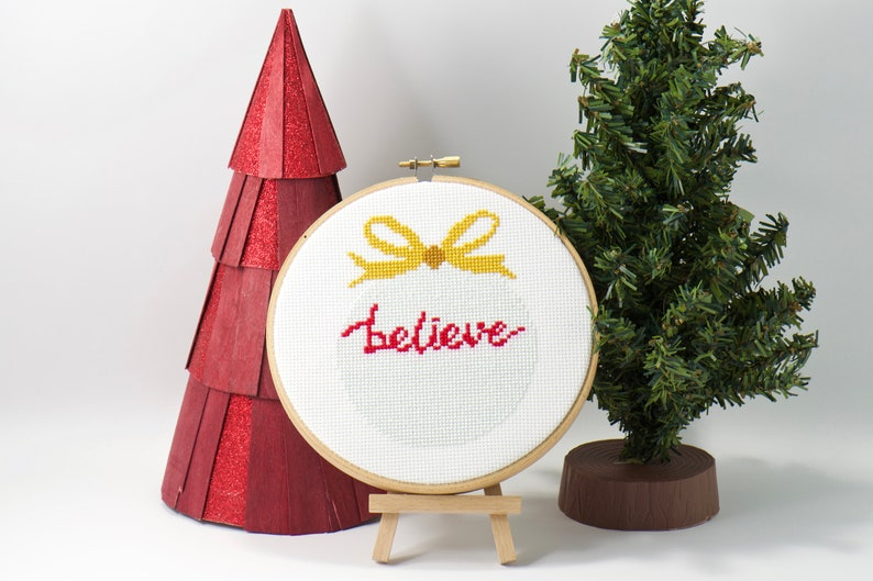 Believe Counted Cross Stitch PDF Pattern Christmas Ornament image 0