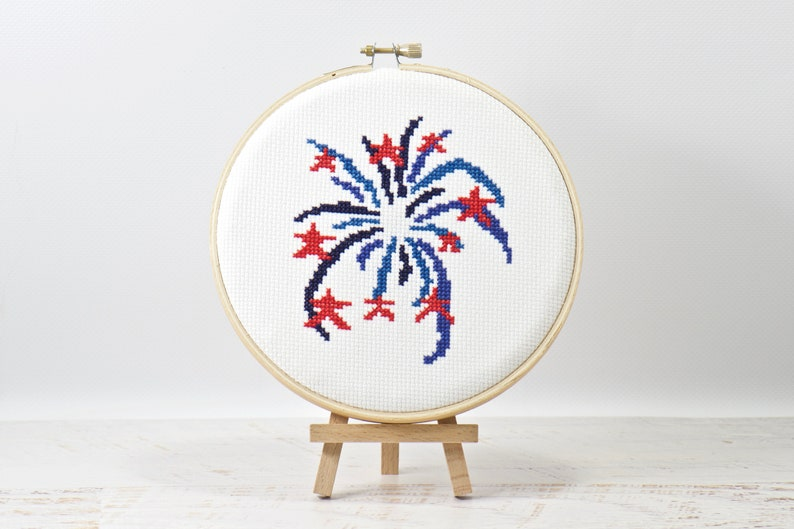 Red White and Blue 4th of July Cross Stitch Pattern PDF image 0