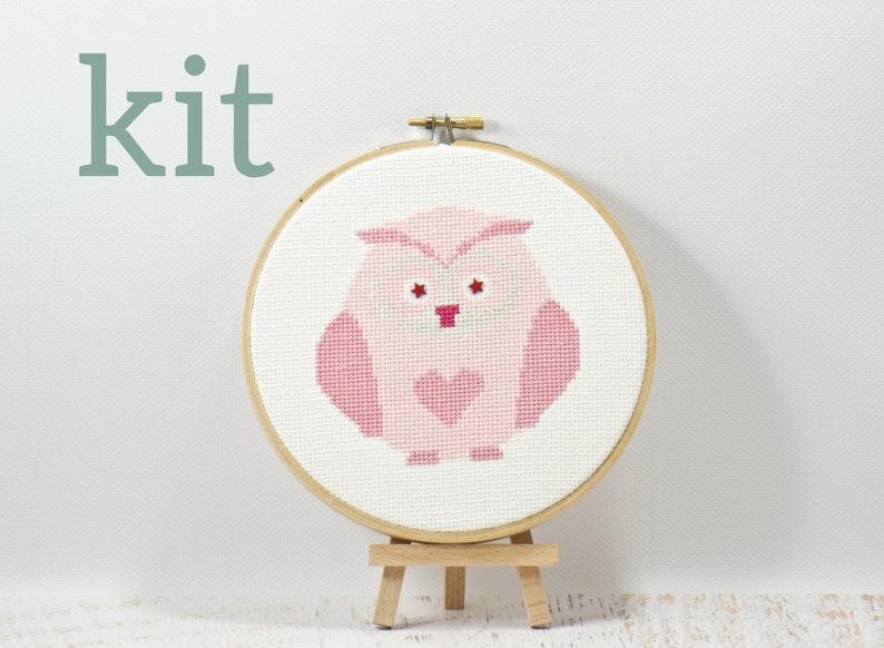 Pink Heart Owl Cross Stitch Kit DIY Craft Kit Beginner image 0