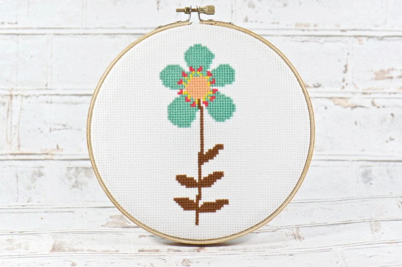 Blue Simple Flower Counted Cross Stitch Pattern Teal Garden image 0