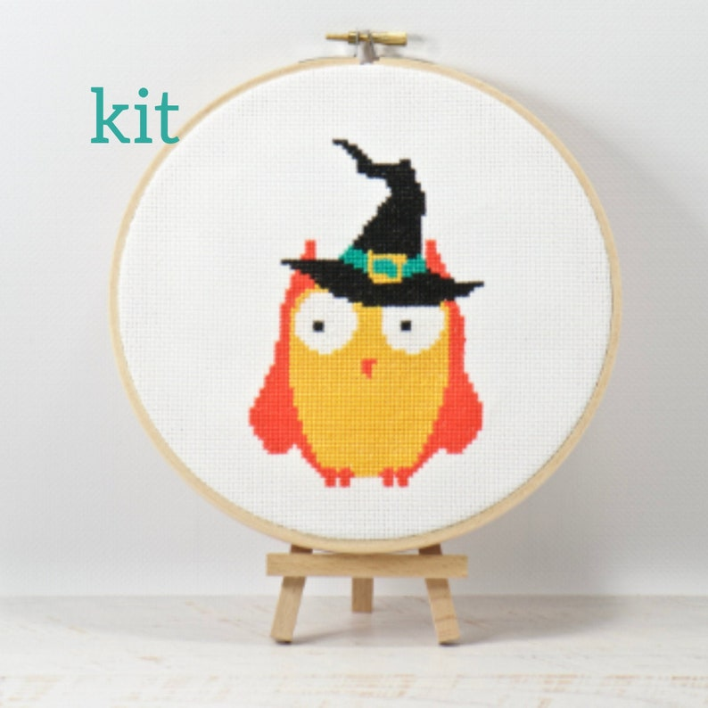 Orange Halloween Owl Counted Cross Stitch Kit DIY Haunted image 0