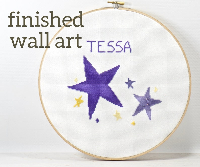 Purple Stars Baby Personalized Nursery Wall Art Embroidery image 0