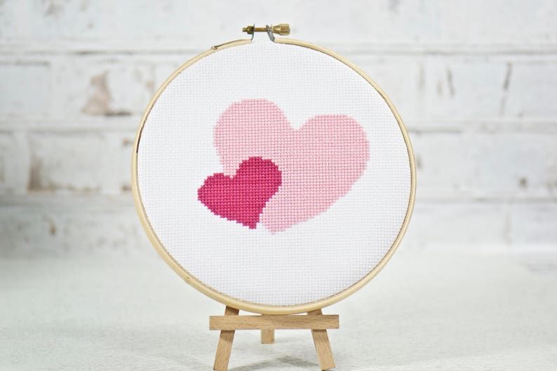 Two Hearts Cross Stitch PDF Pattern Valentine's Day Gift image 0