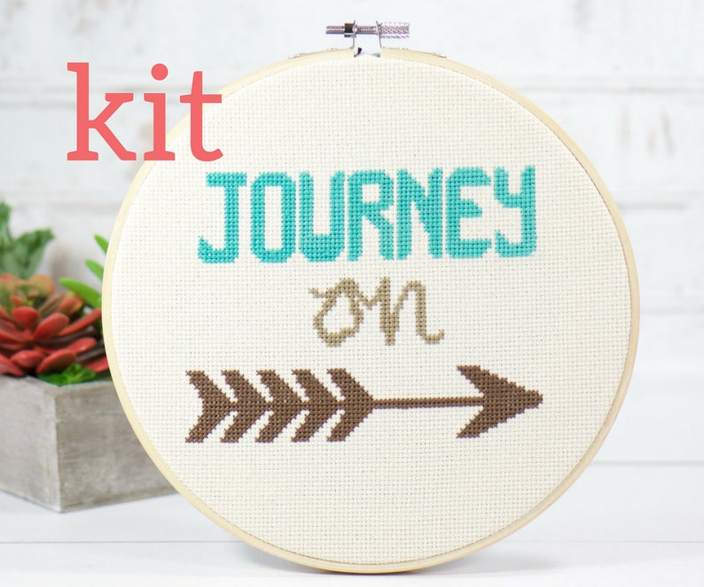Journey On Cross Stitch Kit, Girl Power, Wall Decor, Inspirational Gift,  DIY Embroidery Kit, Find Your Arrow, Craft Kit, Hand Embroidery