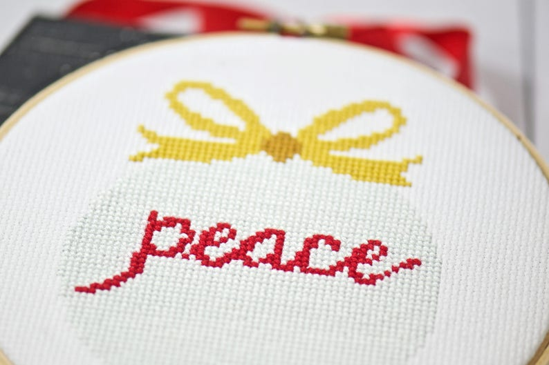 Christmas Peace Ornament Cross Stitch Pattern DIY Home Decor image 0