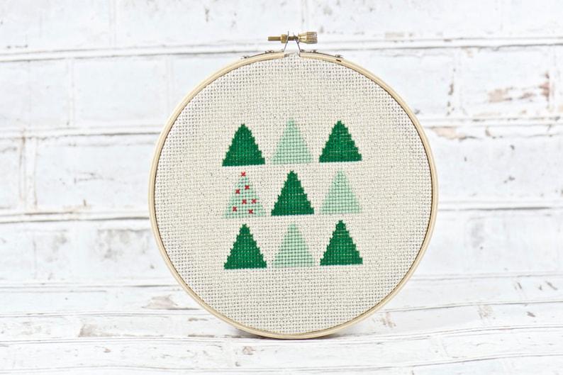 Christmas Tree Cross Stitch. Holiday Decorations. Modern image 0